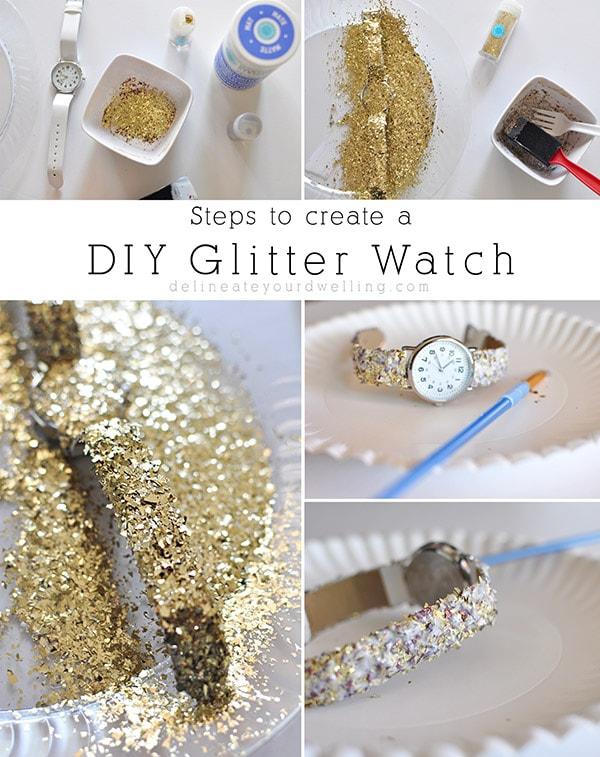 Easy DIY Glitter Watch steps
