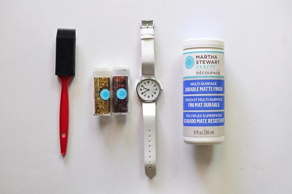 Easy DIY Glitter Watch supplies