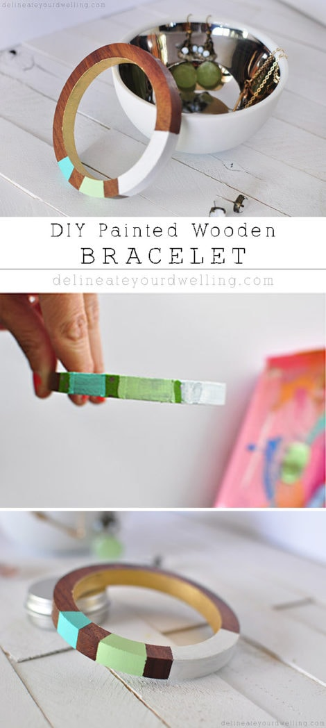 Simple Painted Wooden Bracelet