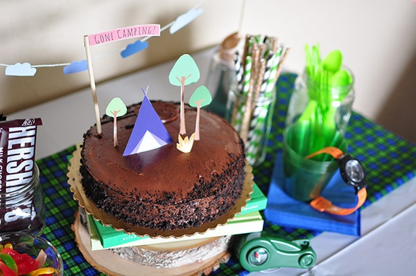Camping Themed Bday Party Cake Table