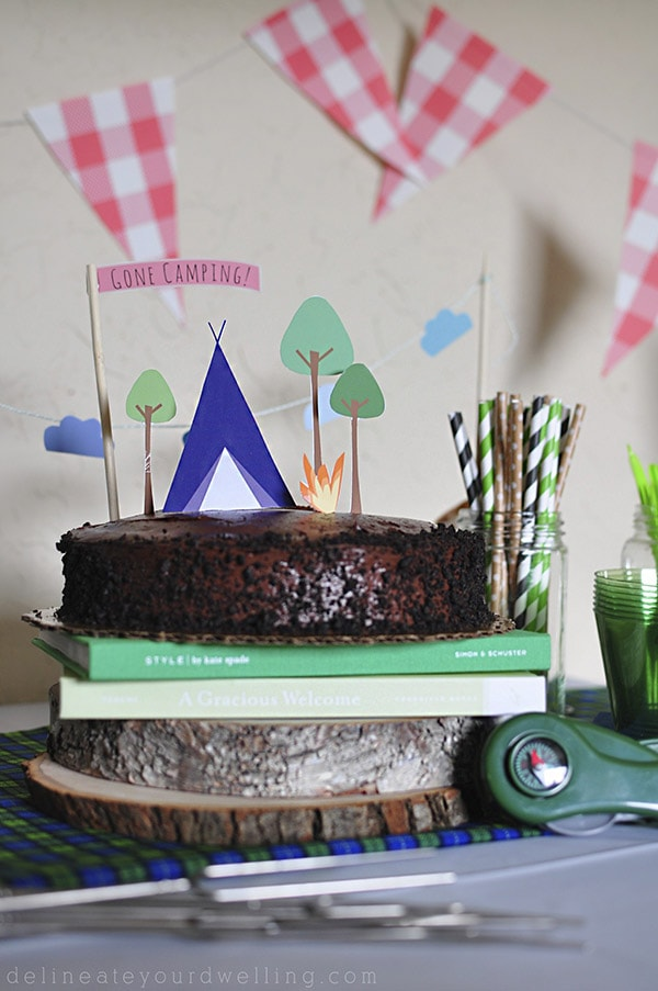 Camping themed bday party cake