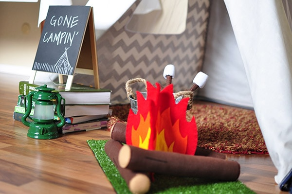 Camping themed bday party setup