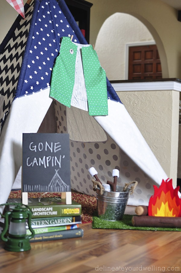 Camping themed bday party tents