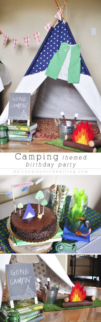 Great Ideas for a Camping Themed Birthday Party.  There are so many camping themed party decorations that can be turned into imaginative play and dress-up play afterwards!  This is a party that we have enjoyed playing for years to come. Delineate Your Dwelling #campingparty #campingthemedbirthdayparty #campparty #campbirthday