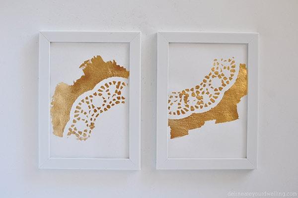 Gold Foil Doily Art, Delineateyourdwelling.com