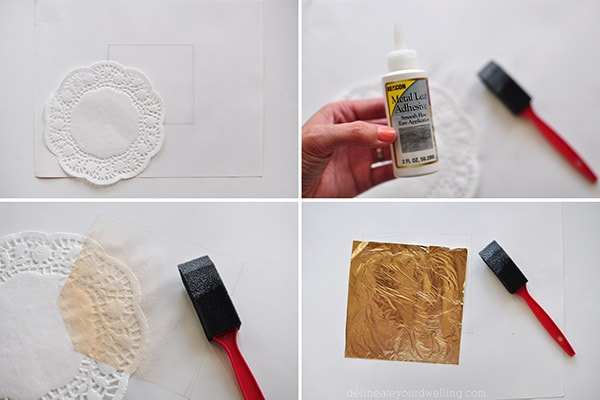 Gold Foil Doily Art steps