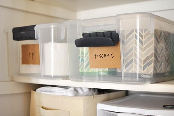 Linen Closet Organization tissues