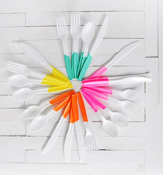 DIY Painted Plastic Flatware