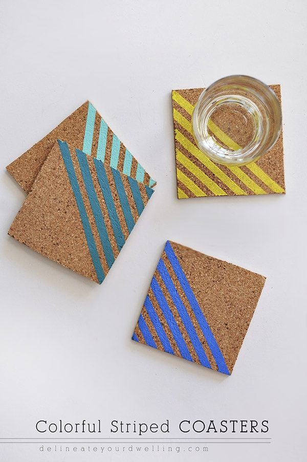 Colorful Striped Coasters, Delineateyourdwelling.com