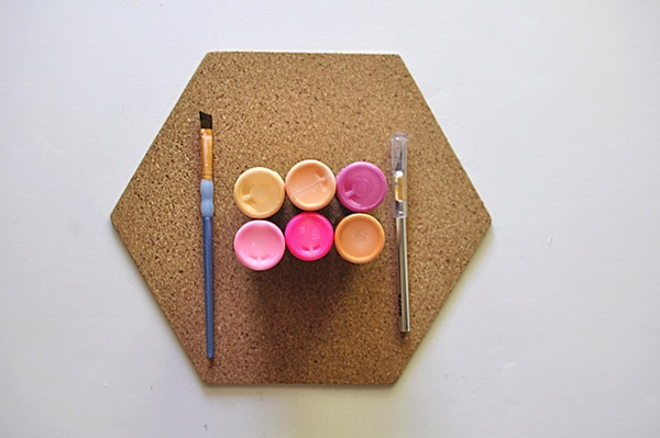 Easy Colorful Corkboard supplies