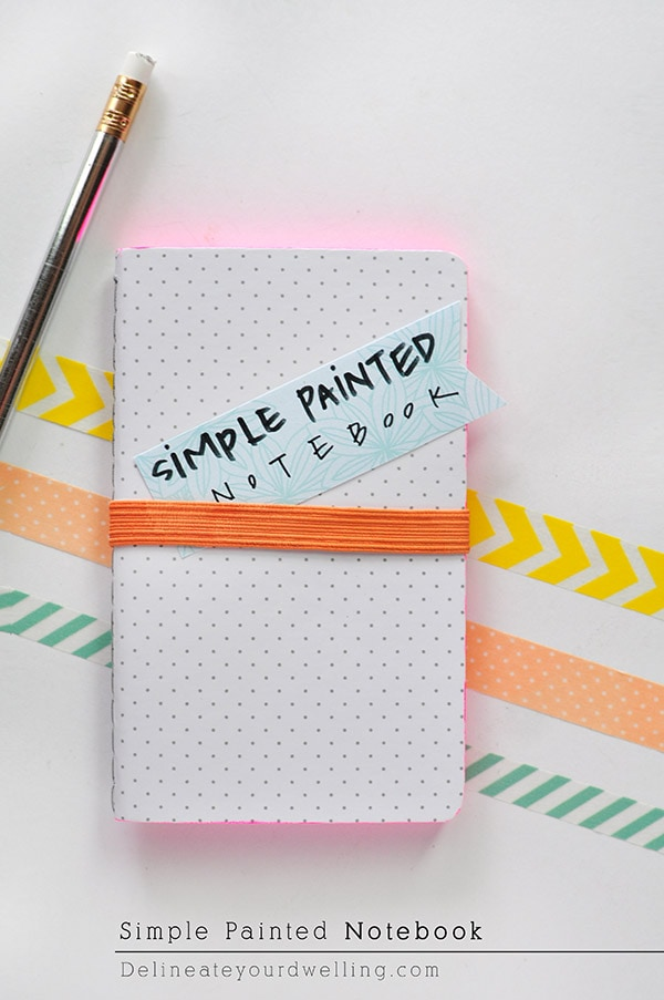Learn how to create a simple colorful DIY Painting Notebook edge! This is a fun DIY craft project for children and adults alike.  Check out all the ways it brightens up any old notebook or notepad. Delineate Your Dwelling #DIYpaintednotebook #AcrylicPaintNotebook #paintingnotebook