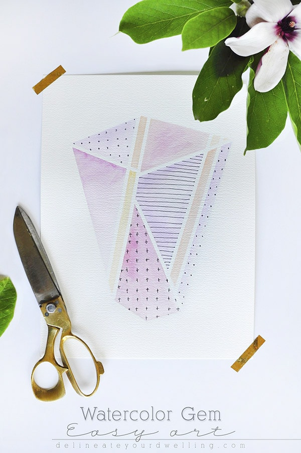 Learn how to create DIY watercolor Gem easy artwork for your home or even as a gift.  A mixed media piece with a bit of ink pattern makes this a special work of art. | Delineate Your Dwelling #mixedmedia #watercolor #gemart