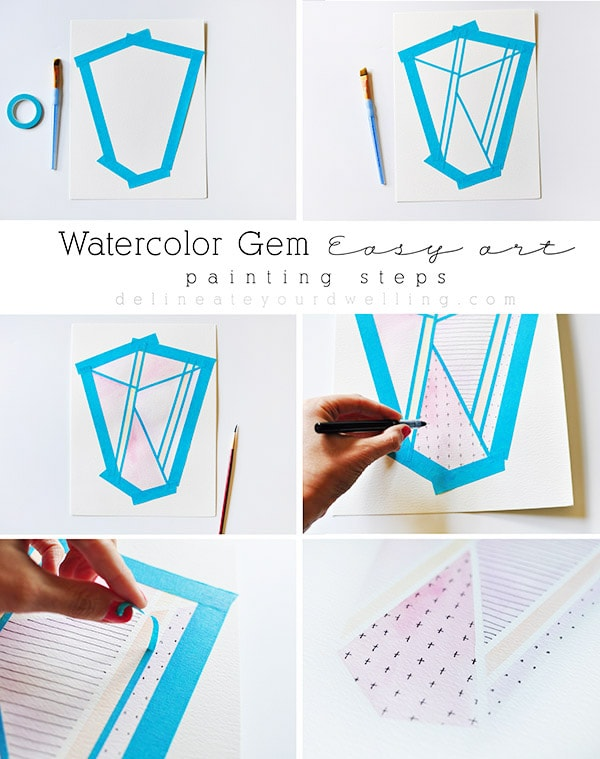 Learn the steps of how to make a gorgeous watercolor Gem easy artwork piece. Delineate Your Dwelling #watercolorgem #easyart