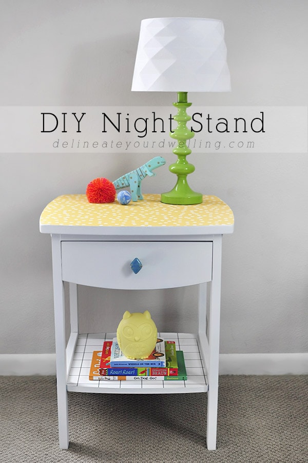 White and Yellow DIY Nightstand