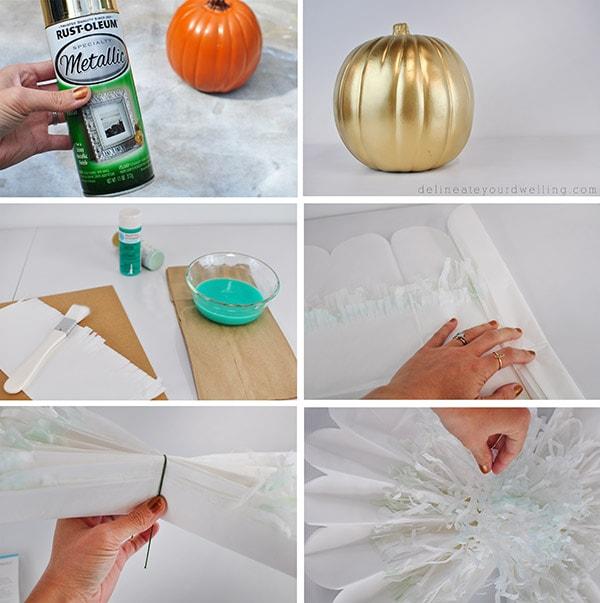 DIY Pom Pom Flower Pumpkin steps