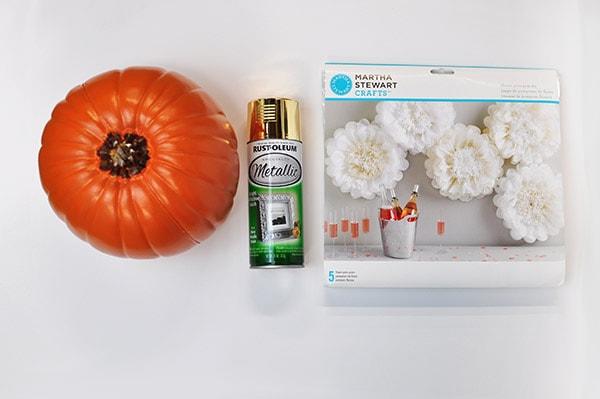 DIY Pom Pom Flower Pumpkin supplies