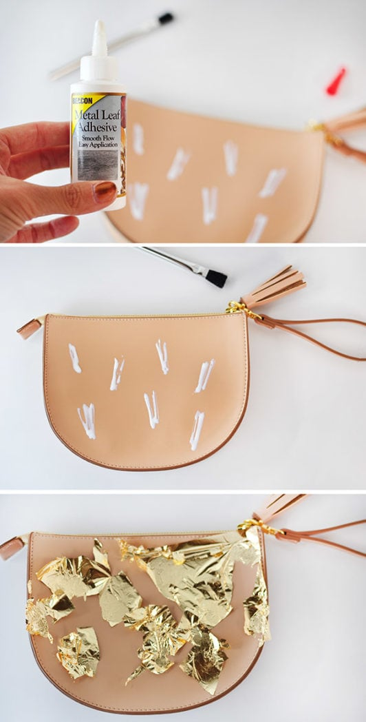 Gold Leaf Brushstroke Clutch steps