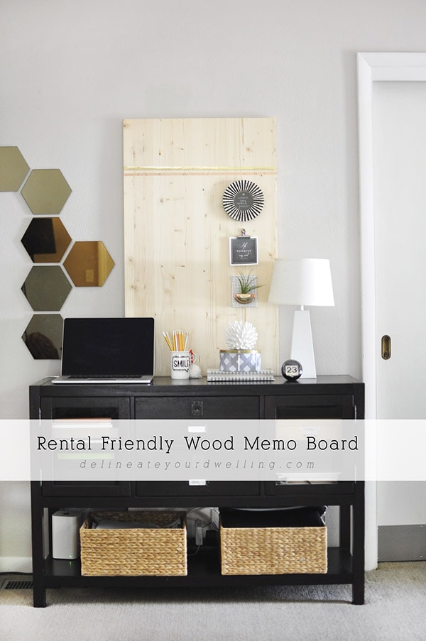 Rental Friendly Wood Memo Board, Delineateyourdwelling.com