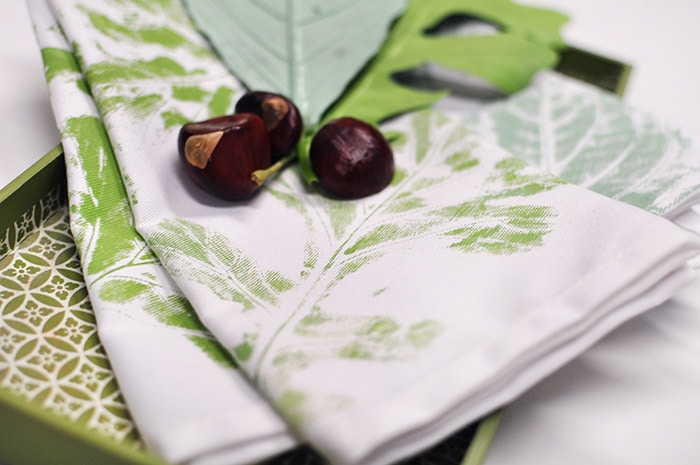DIY Leaf Stamped Towel