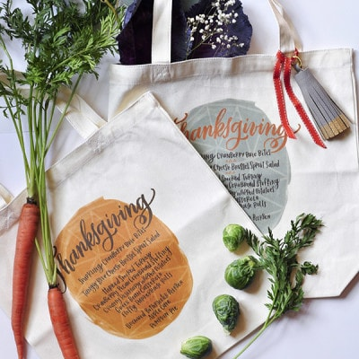 Thanksgiving Menu Iron On Totes, Delineateyourdwelling.com