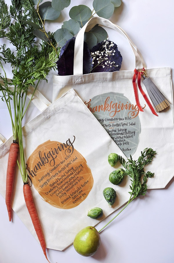 Thanksgiving Menu Iron On Totes, Delineate Your Dwelling #thanksgivingcraft