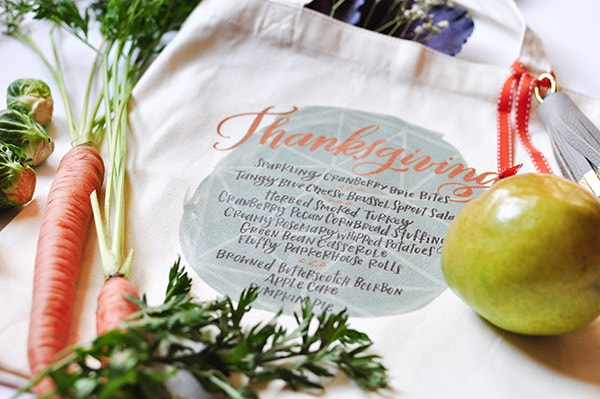 Thanksgiving Menu tote