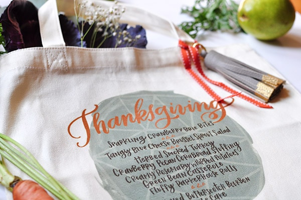 Thanksgiving Menu totes