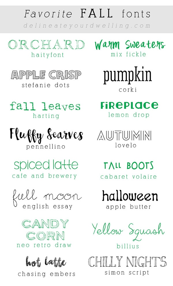 Favorite Fall Fonts
