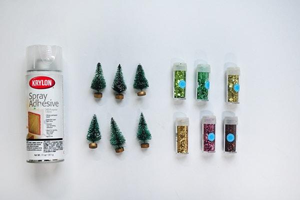 Bottle Brush Glitter Trees supplies