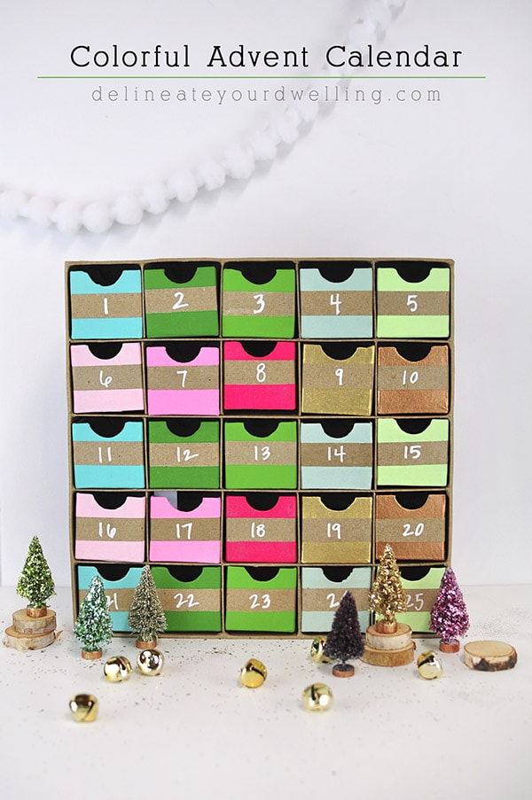 Colorful Advent Christmas Holiday Calendar, Delineateyourdwelling.com