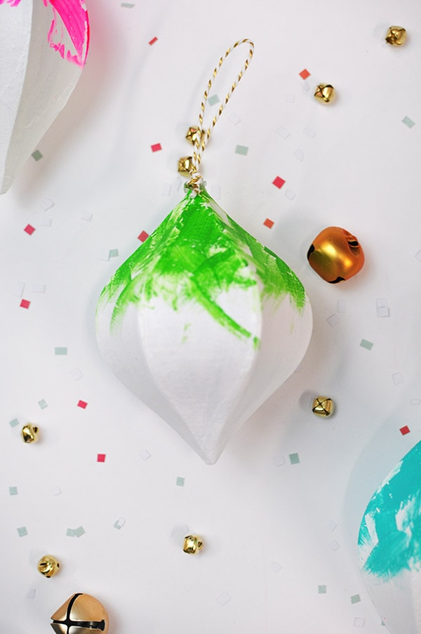 Colorfully Painted Christmas Ornament green