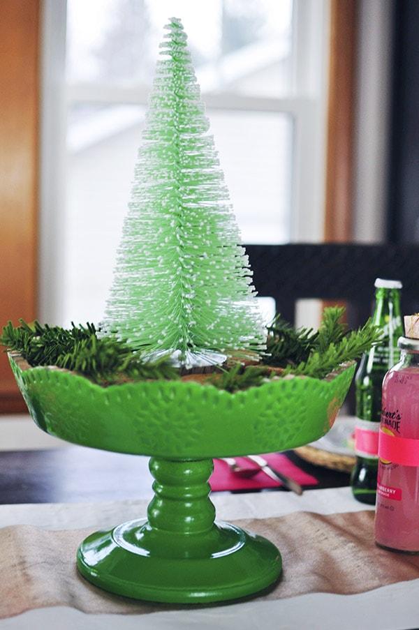 Green Bottle Brush tree at Christmas