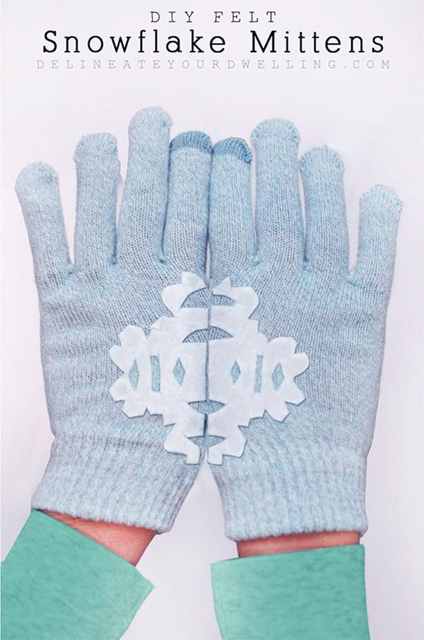 No Sew Felt Snowflake Gloves