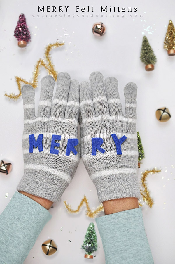 Merry Gray striped Felt Mittens