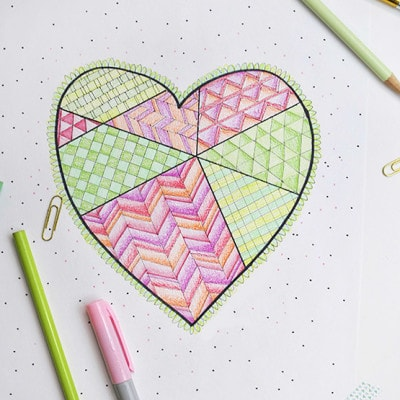 1 Geometric Heart Coloring Page