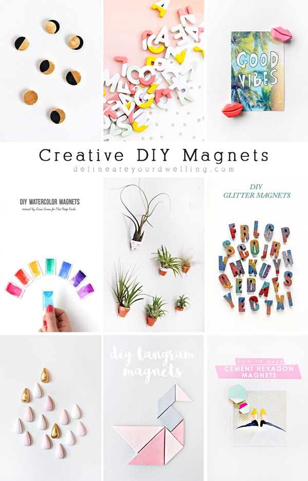 Learn how to make creative and unique DIY Magnets.  Use them to display artwork on your fridge or hold up your most favorite photos! Delineate Your Dwelling #creativemagnets #DIYmagnets