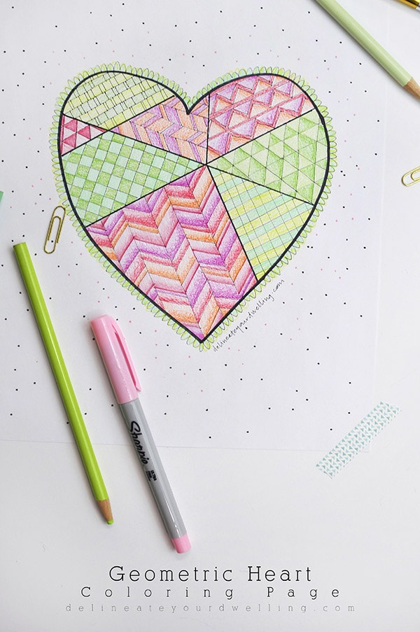 Enjoy a little relaxation time while you doodle on this fun Geometric Heart Coloring Page printable.  It is a fun activity for both children and adults, alike! Delineateyourdwelling.com #heartcoloringpage