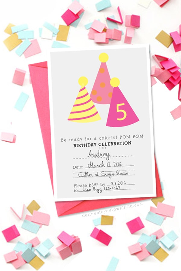 PomPom-Birthday-Party-Invitation, Delineateyourdwelling.com