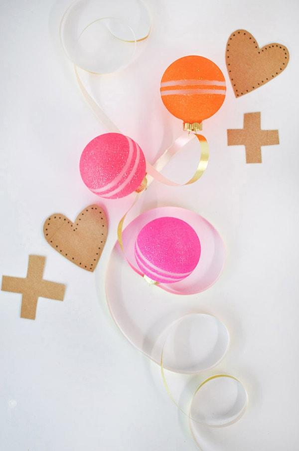 Valentine's Glitter Ornaments