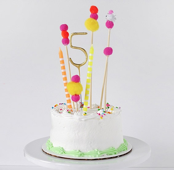 Pom Pom Birthday Cake Topper - Delineate Your Dwelling