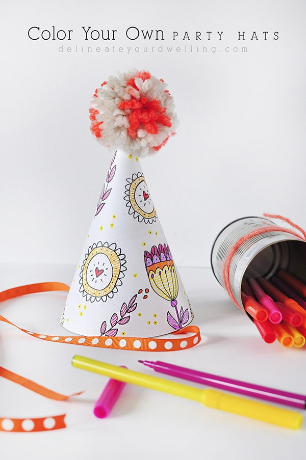 A FREE Printable - Color Your Own Party Hat, Delineate Your Dwelling