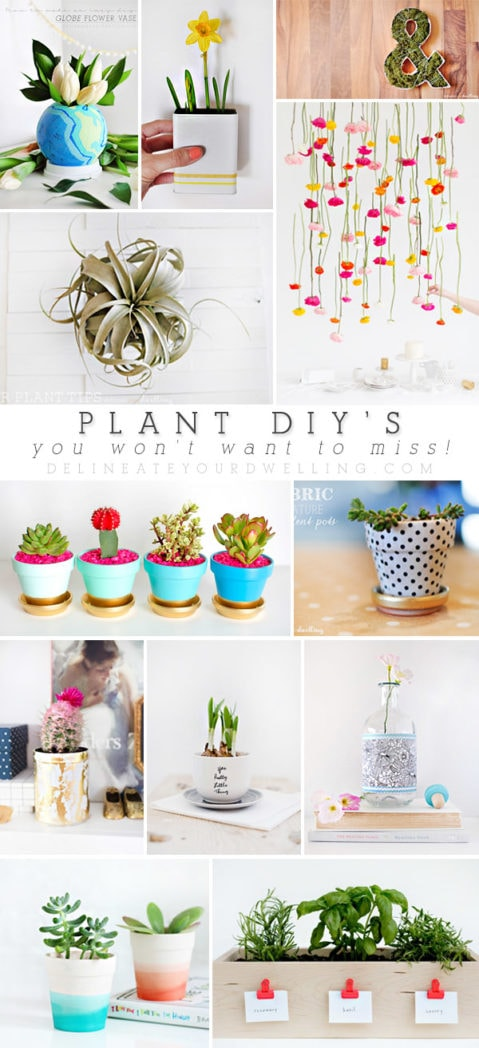 Creative, crafty and gorgeous Plant DIYs you won't want to miss! Learn how to craft indoor plant pots in bold colors, gold foil and painted designs. Delineate Your Dwelling #plantDIY #plantpotDIY