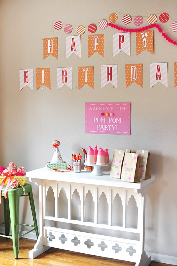 Pom Pom Birthday Party setup