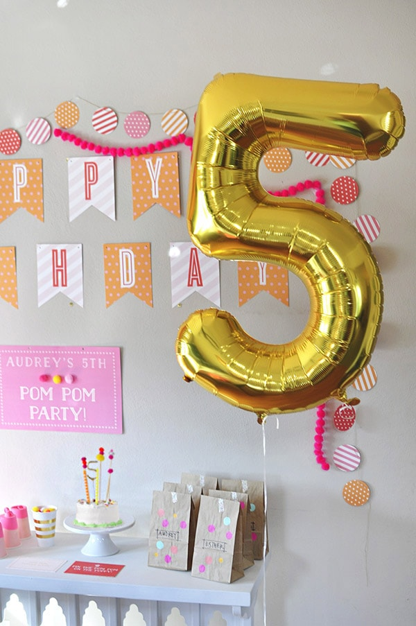 Pom Pom Birthday Party balloon