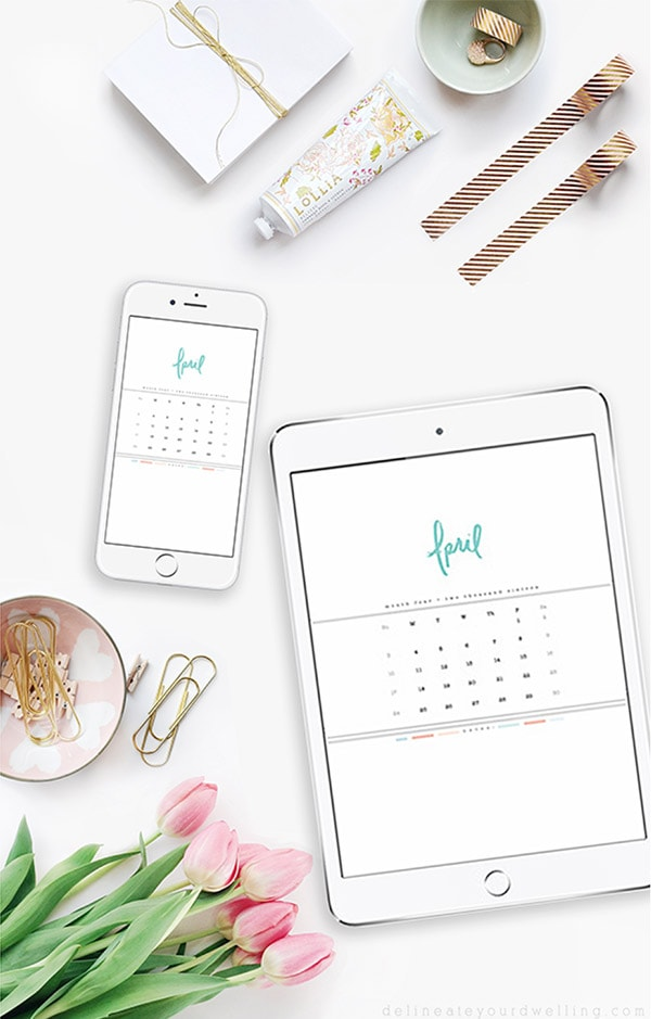 Download your FREE April 2016 Hand Lettered Digital Calendar, Delineate Your Dwelling