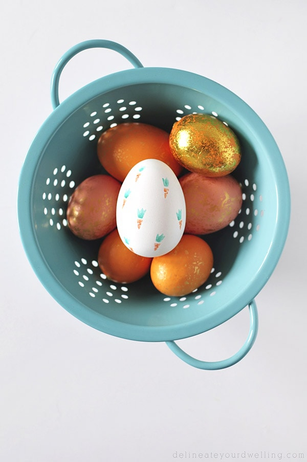 Carrot Stamped Easter Eggs