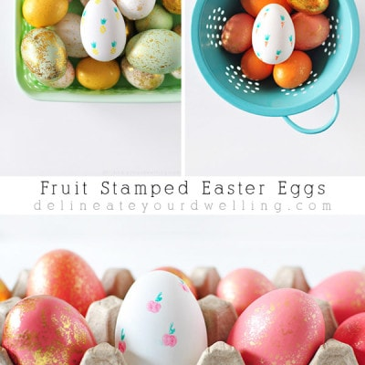 Simple and fun Fruit Stamped Easter Eggs