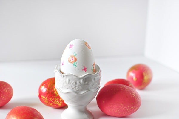 Elegant Floral Stamped Easter Egg