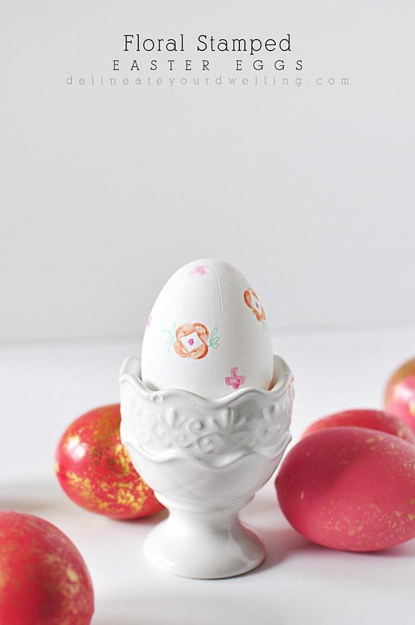 Flower Stamped Easter Egg