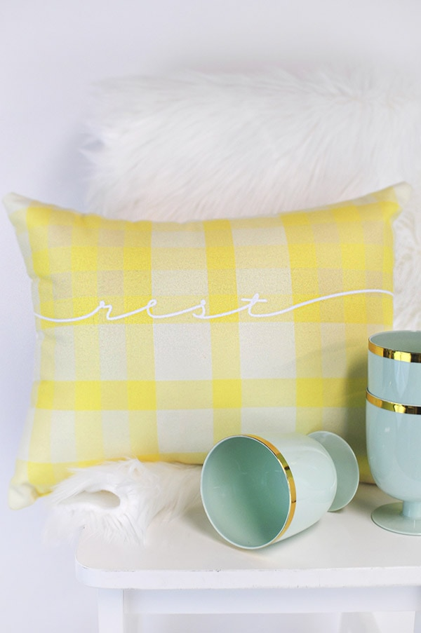 Colorful Plaid Spring Outdoor Pillow, Delineate Your Dwelling